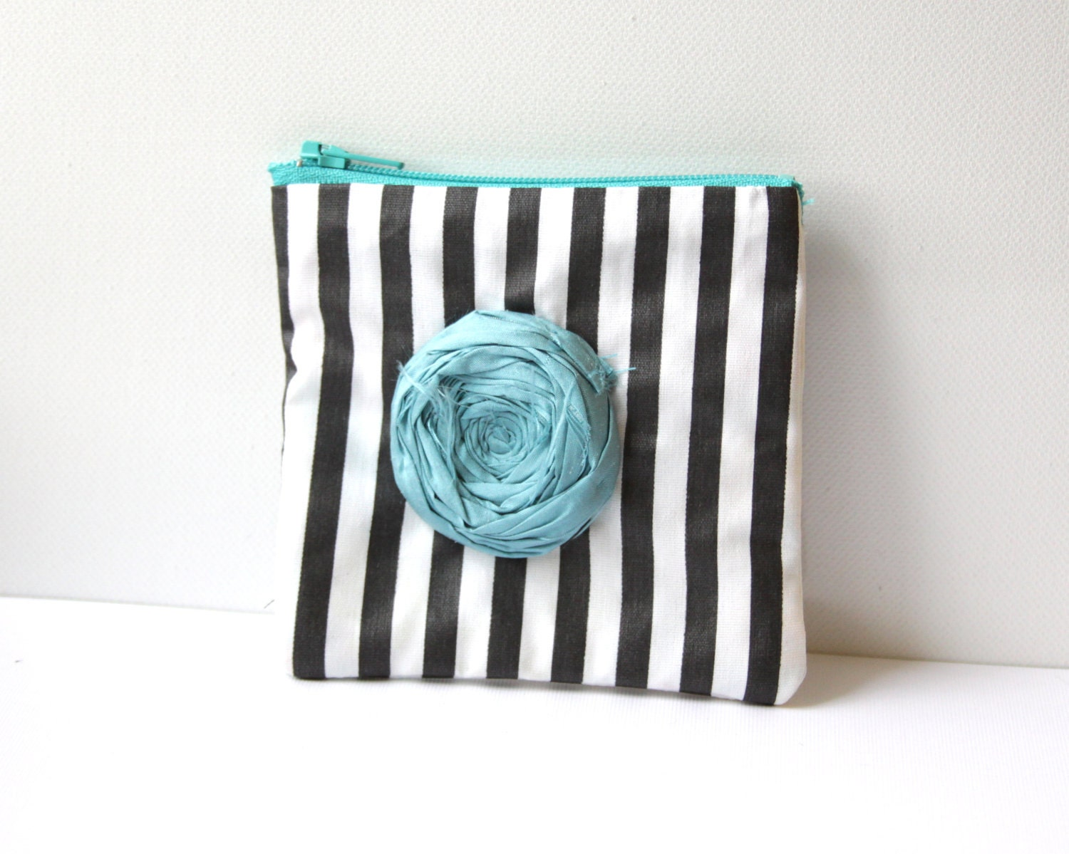 Rosette Coin Purse Vintage Stripe Black and White Shiny Fabric with blue silk handmade Rosette with Purple Zip
