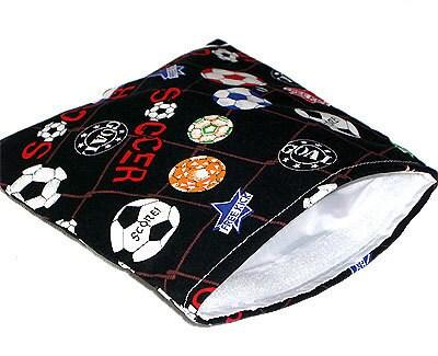 Reusable Sandwich Bag - Soccer Fabric Print