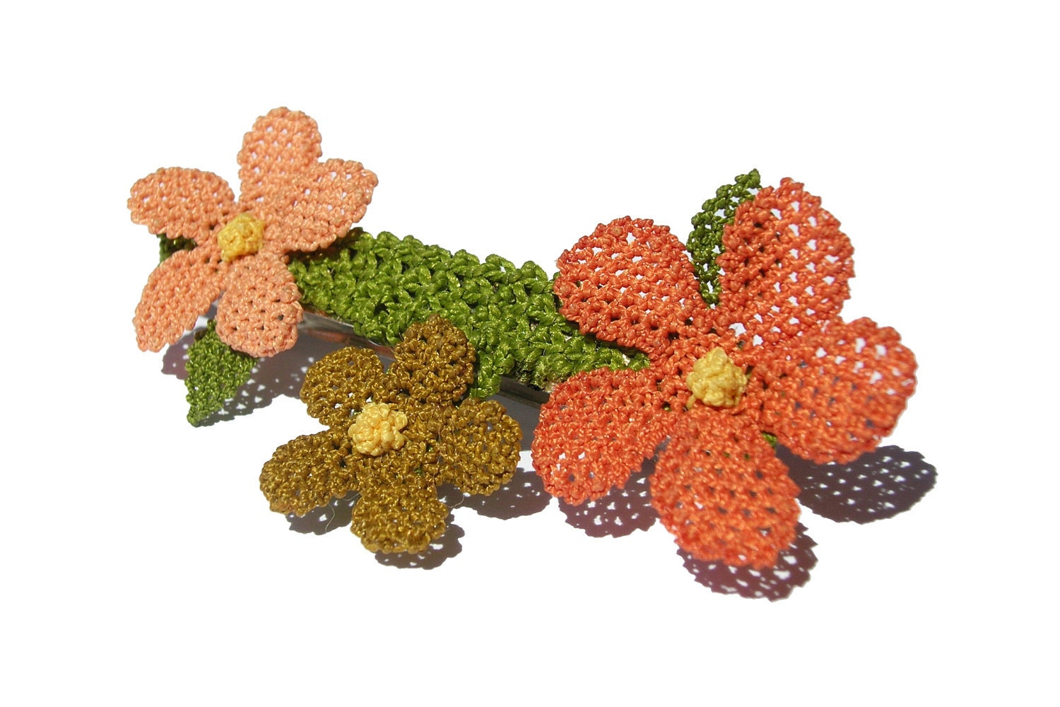Lace flower French barrette, woodland, rust, peach orange and green, modern petite, boho floral hair clip, salmon coral pink whimsical, TAGT - LandofDante