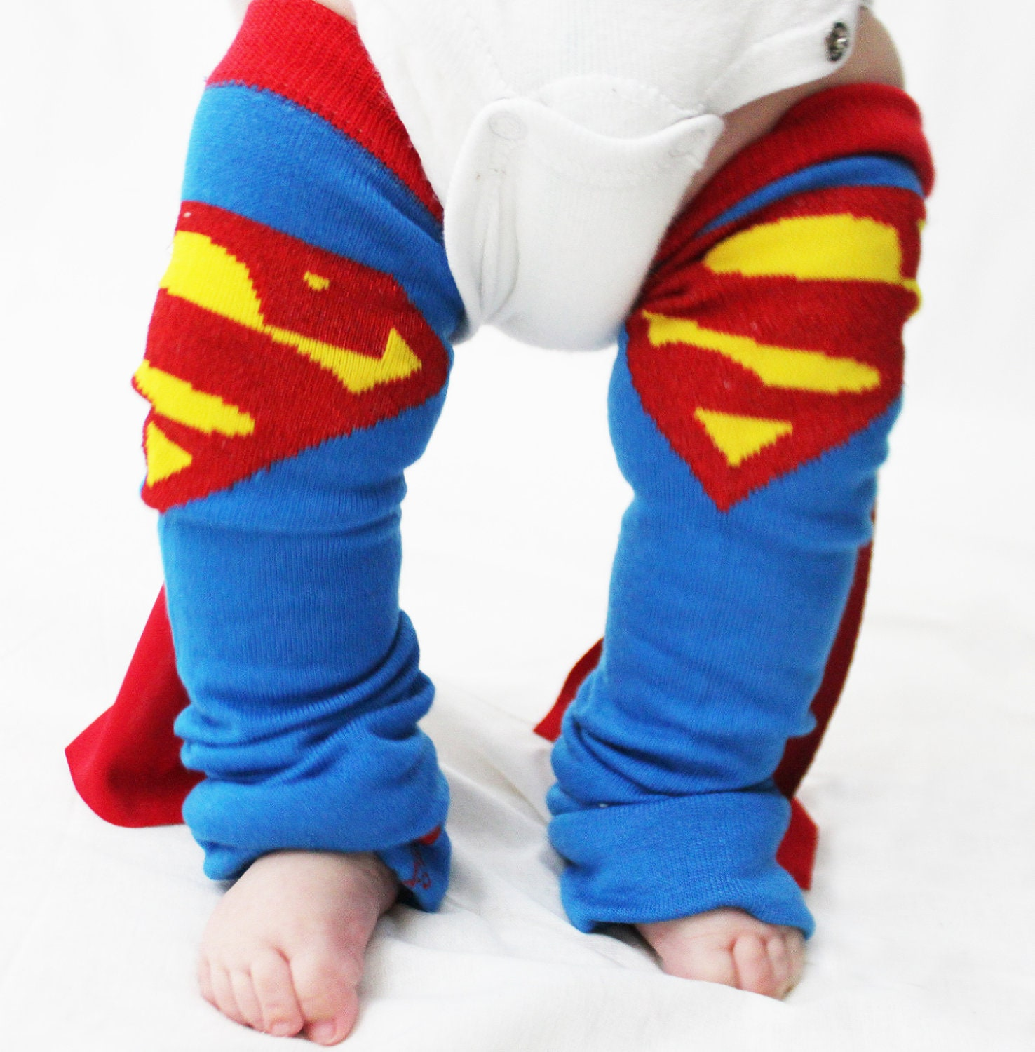 Baby to Toddler Superman Baby Leg Warmers with Capes, Halloween Costume, Dress Up
