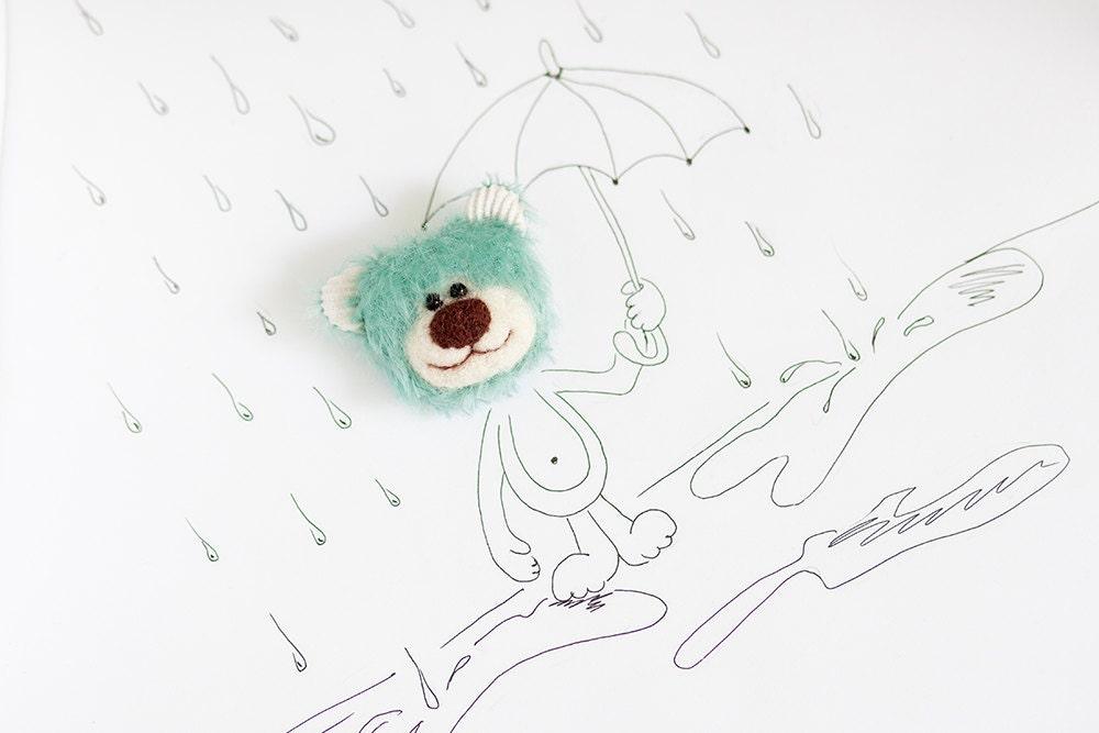 Mohair Teddy bear face brooch - Mint - SoftlyBearPaw