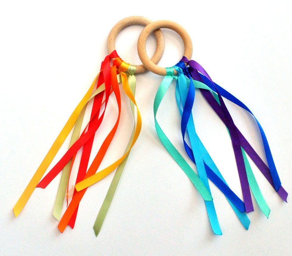 twoo waldorf Dancing Wood Fairy Ring with rainbow Ribbon. BEACH, Wedding, children Birthday Party Favor
