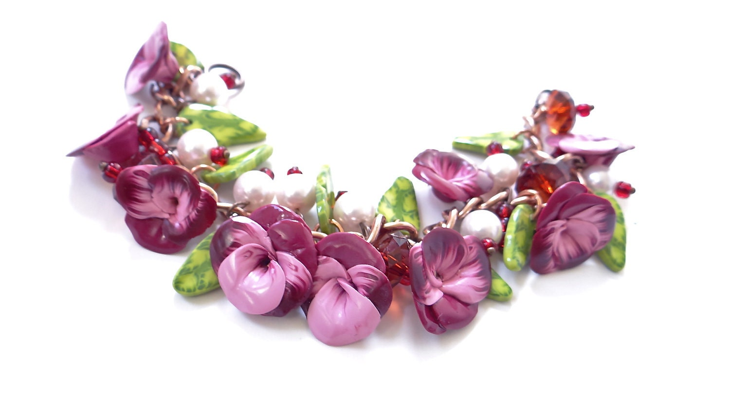 Deep Red and Pink Pansy Bracelet, Pansy Bracelet, Pansy flower.