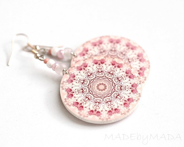 SALE Delicate pink Rosette Round decoupage earrings Floral motif ,  gift for her under 25 - MADEbyMADA