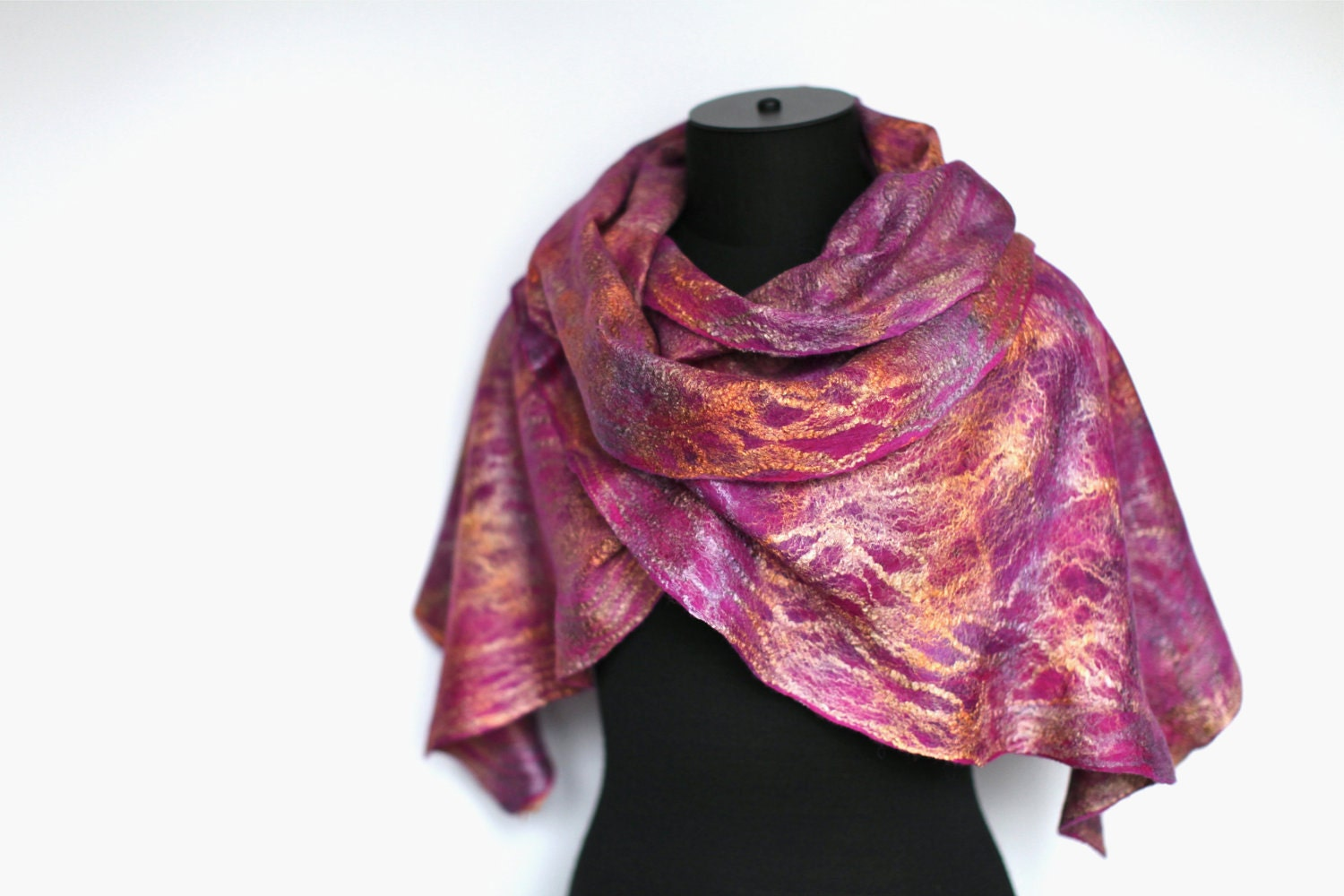 Felted Scarf Winter Fashion Plum Gold Merino by FeltedPleasure from etsy.com