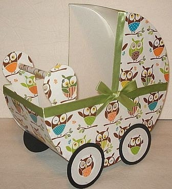 1 Little Hoot Owl Baby Carriage Table Centerpiece / Gift Box
