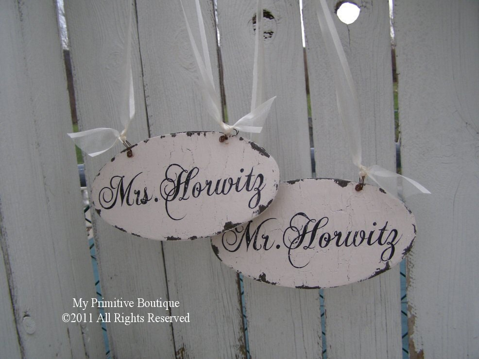 Personalized MR and MRS Chair Hangers Reception Decor Shabby Chic Vintage