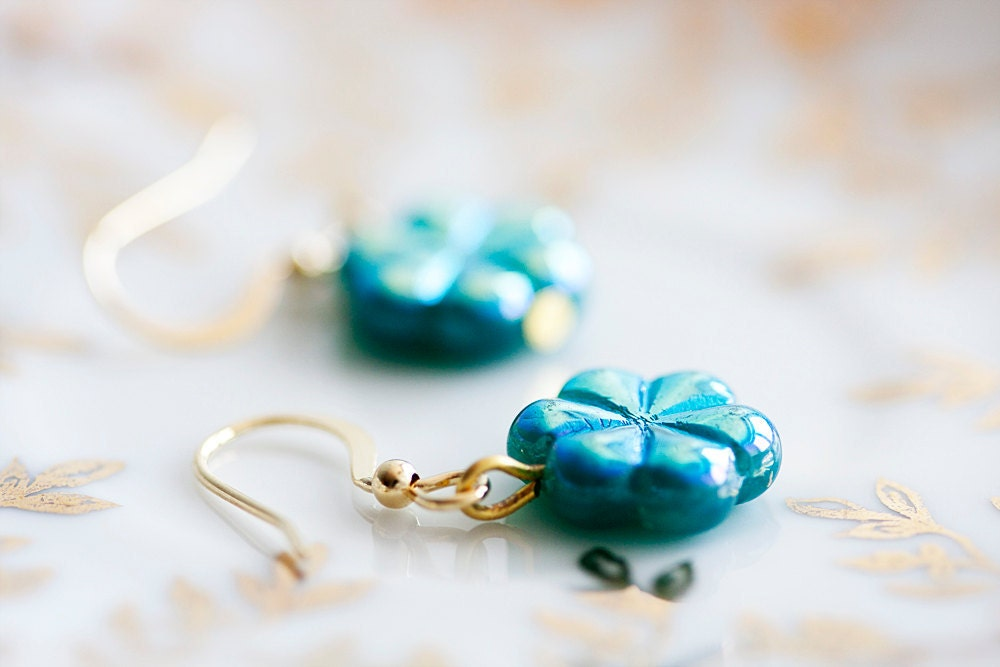 Teal Flower Earrings Little Flower Teal Blue Earrings Turquoise Flower Jewelry - E035 - SilentRoses