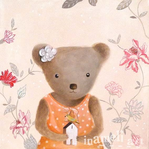 Teddy bear illustration, lovely animal wall art, nursery room decoration, bear art, Playroom Decor, children animal painting by inameliart - inameliart