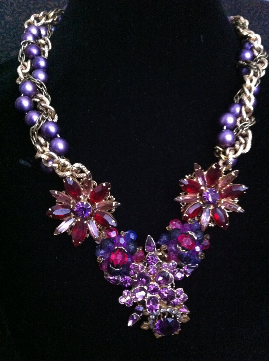 Vintage Upcycled Necklace - Purple and Gold Tone Statement Necklace - Purple Rhinestone and Pearl