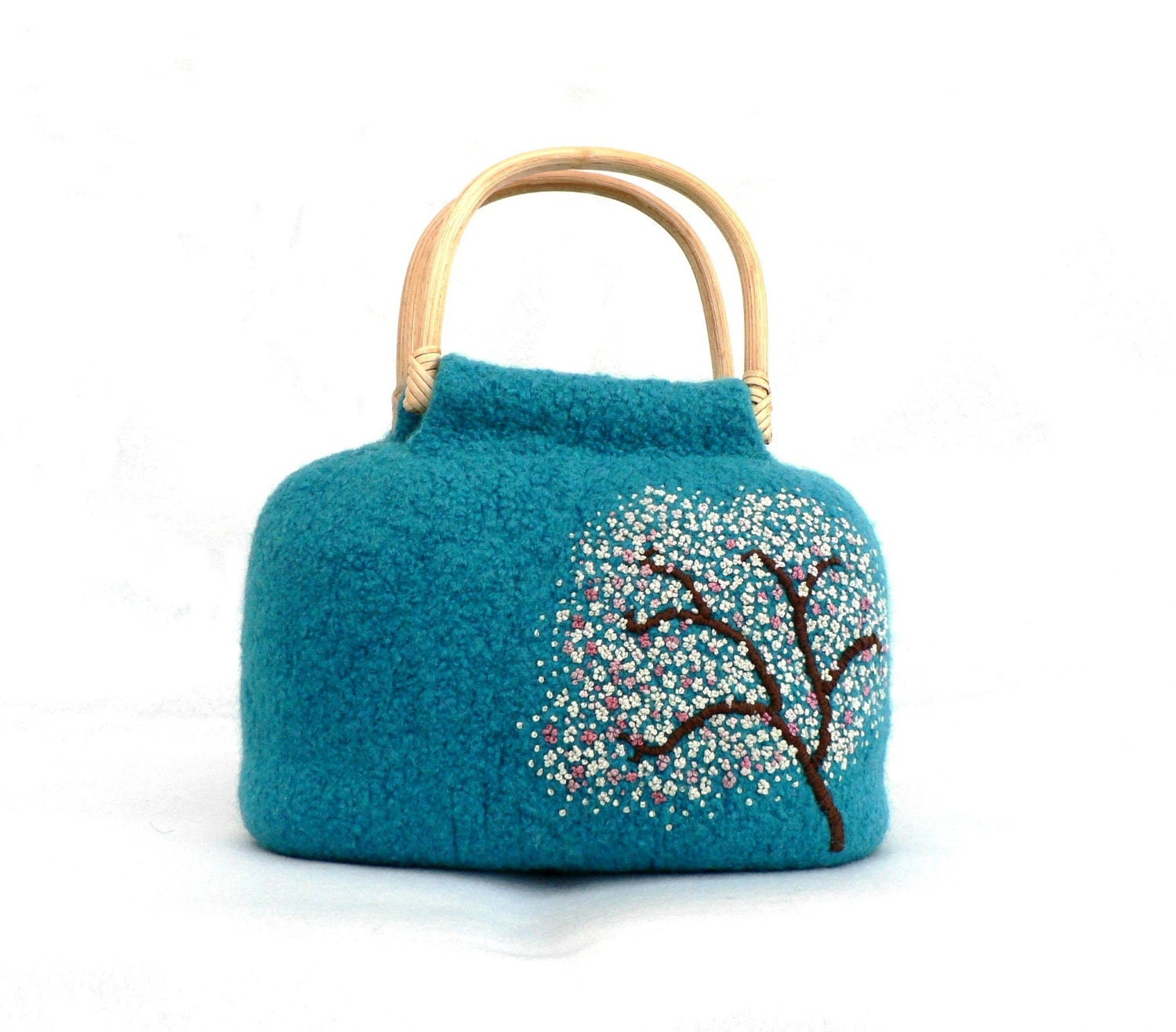 Embroidered Felted Handbag - Cherry Tree