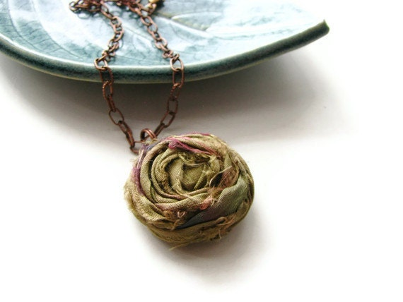 Shabby Chic Single Silk Rosette Necklace in Olive Green and Antique Copper Chain - Romantic Rosette - heversonart