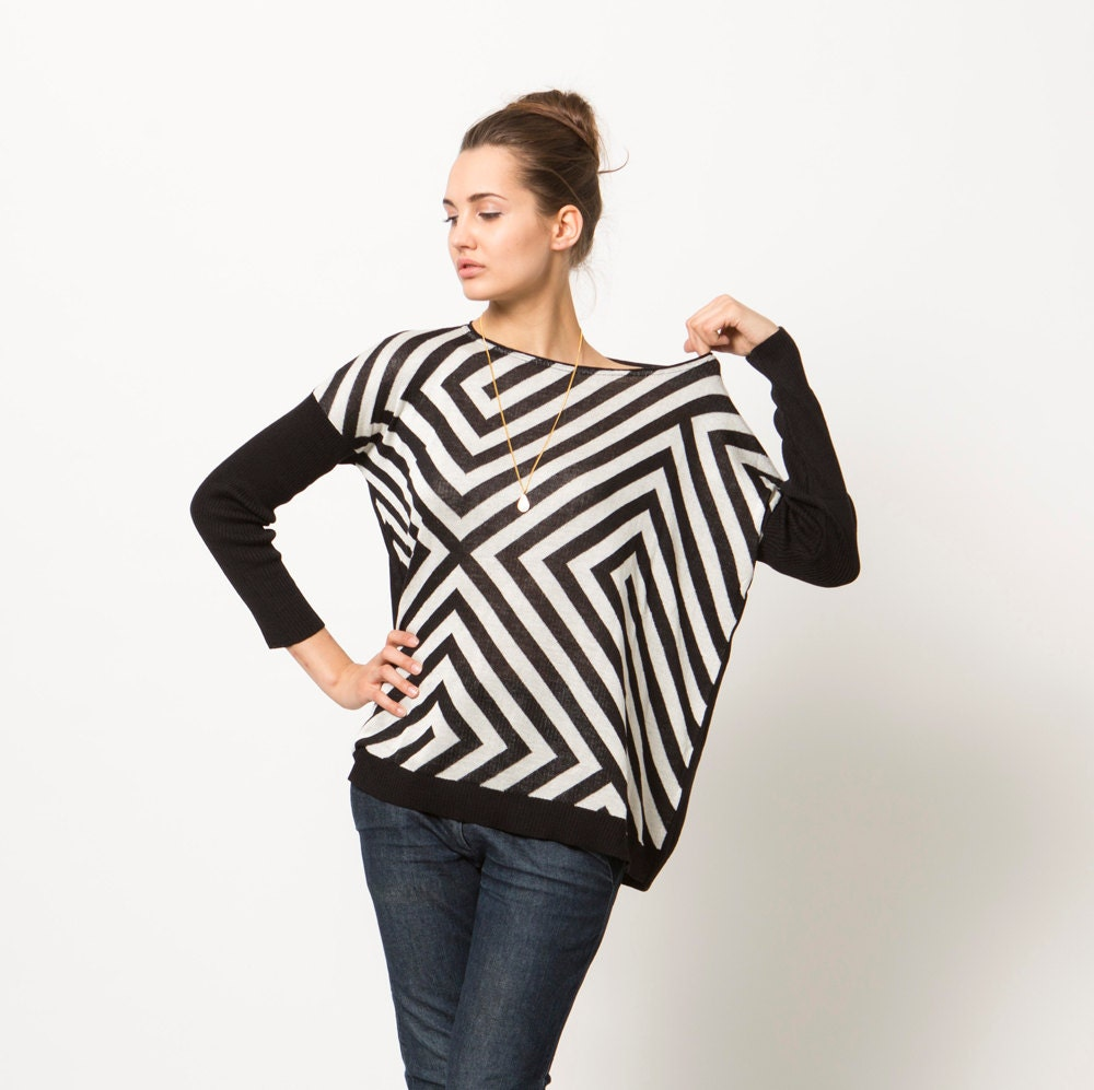 Perfect Women Sweater, Black and White Top, Stripes Sweater, Long Sleeve Shirt - MatkaShop