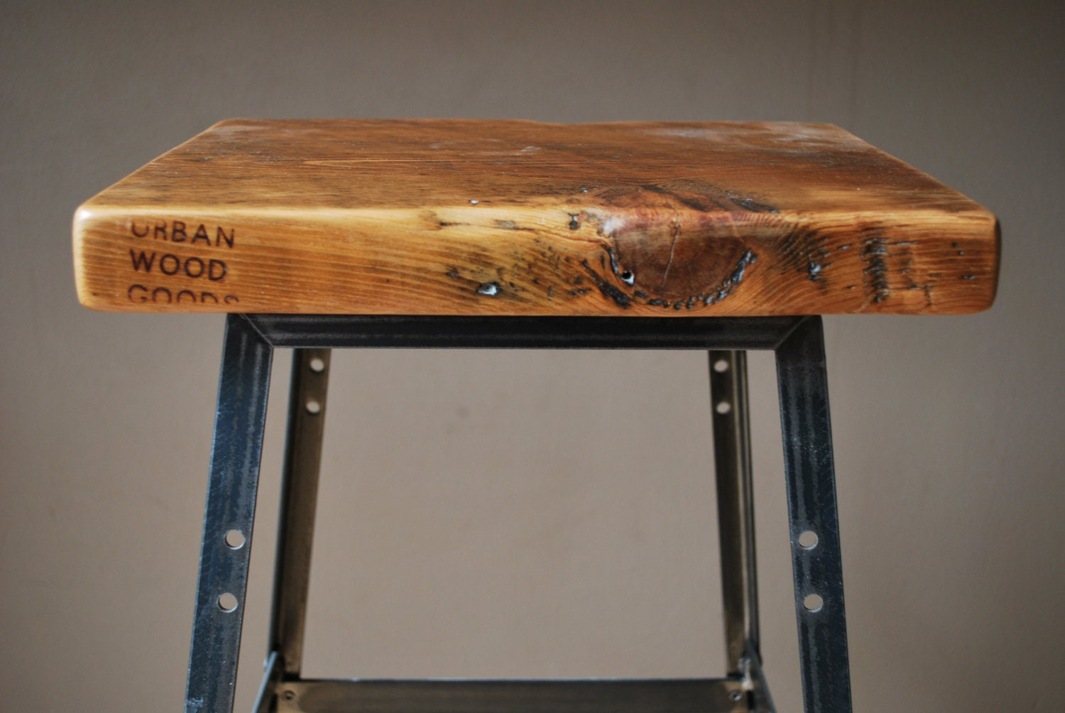 "Pair of 30"" Bar Height Reclaimed Wood and steel industrial shop Stool. made in chicago"