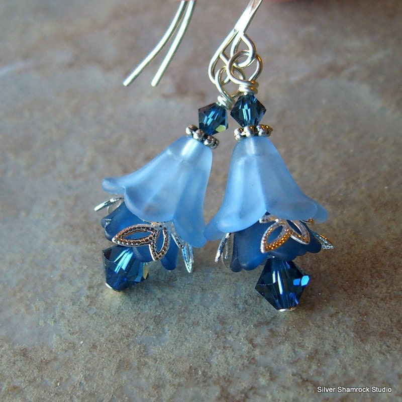 Saphire and Cobalt Blue Flower Earrings, Lucite Flower Jewelry