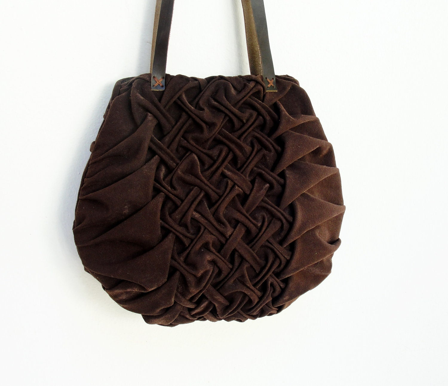 Smocked and Pleated Chocolate Bag - StarBags