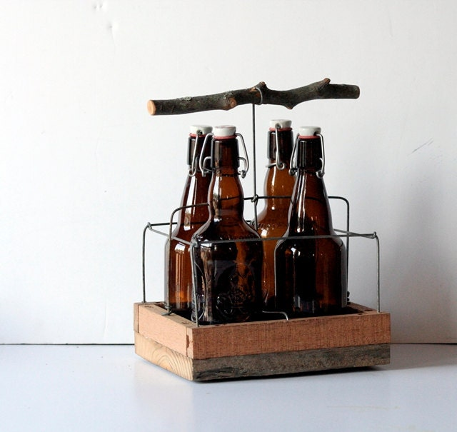Hard Cider - Handmade Twig Four Pack - Rustic Beer Tote