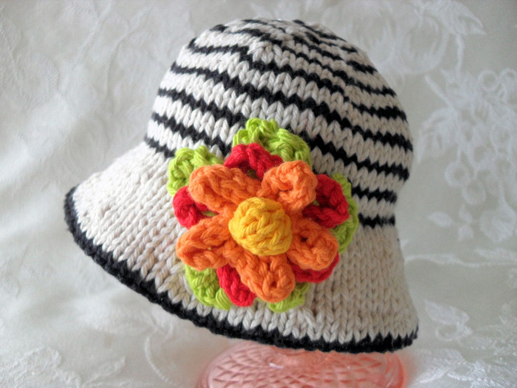 Hand Knitted Baby Hat-Knitted Striped Baby Bonnet-Children Clothing-Hand Knitted Lace and Flower Baby Hat-TUTTI FRUITTI with STRIPES