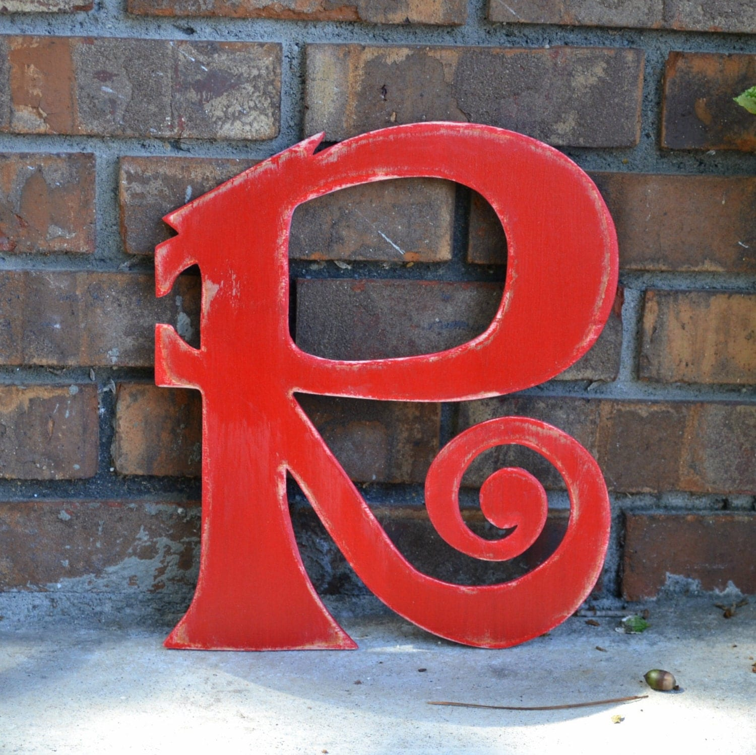 "12"" Wooden Letter R, Funky Font, Distressed Red - Oversize Letter, many colors available - gracegraffiti"