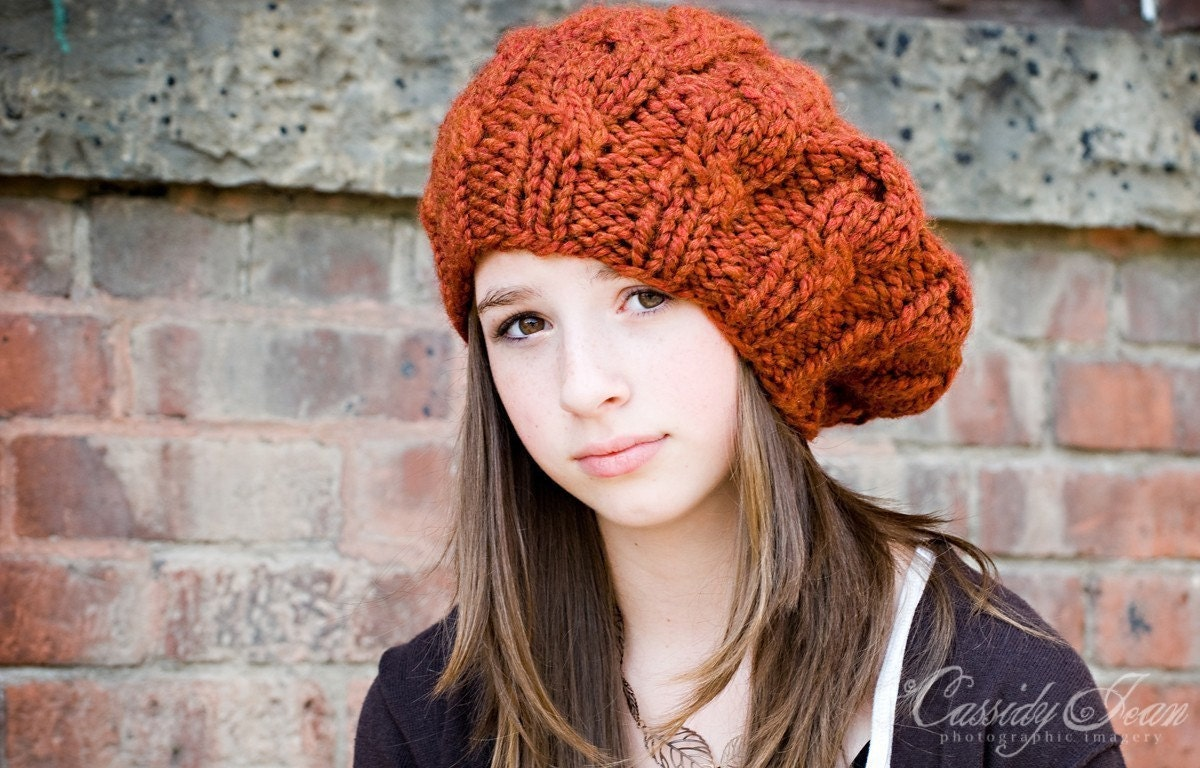 Hand Knit Hat Womens Hat - Cable Beret Hat in Rust Orange - Winter Fashion Winter Accessories Chunky Knit