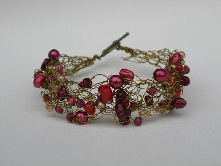 Crocheted Bracelet--reds