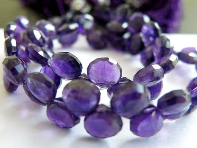 AAA Purple Amethyst Gemstone Faceted Heart Briolette, 7mm, Set of 21 beads