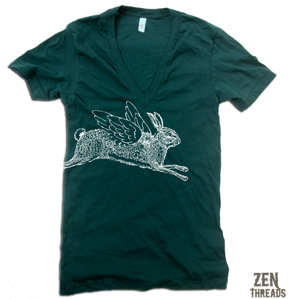 Unisex Winged RABBIT Deep V-Neck american apparel T Shirt  XS S M L (11 Colors Available) - ZenThreads