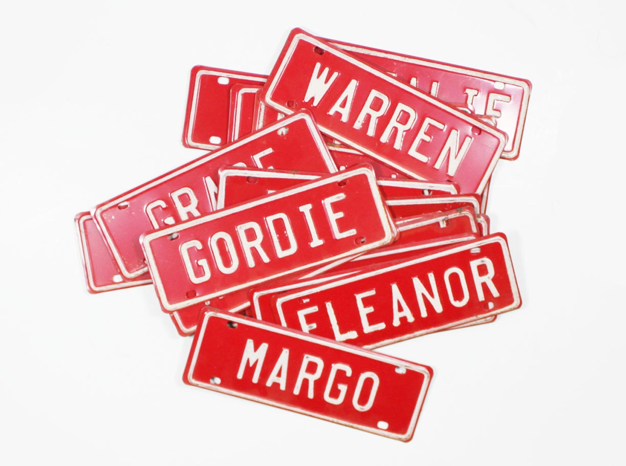 Vintage Name License Plate: Red and White Metal Bicycle Plates with Old Fashioned Names - BrooklynRetro