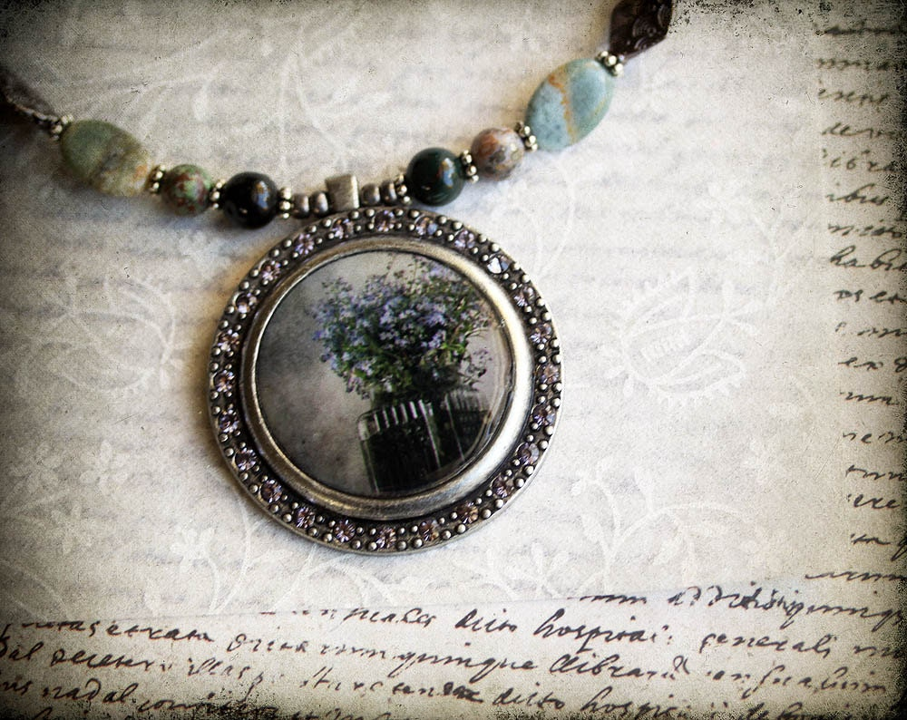 wildflowers wearable art pendant photo jewelry original photography mothers day for her - judeMcConkeyPhotos