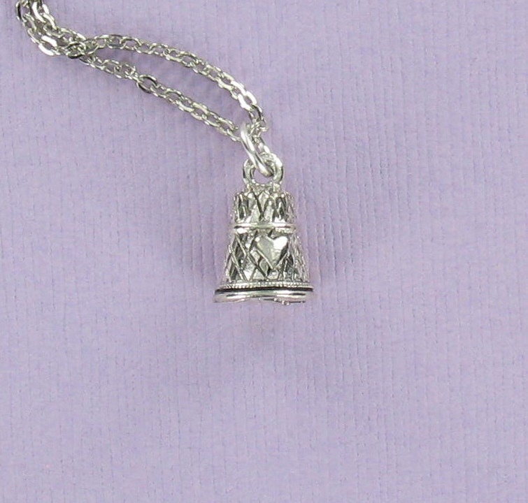 THIMBLE with HEARTS - Pewter Charm on a FREE Plated Chain