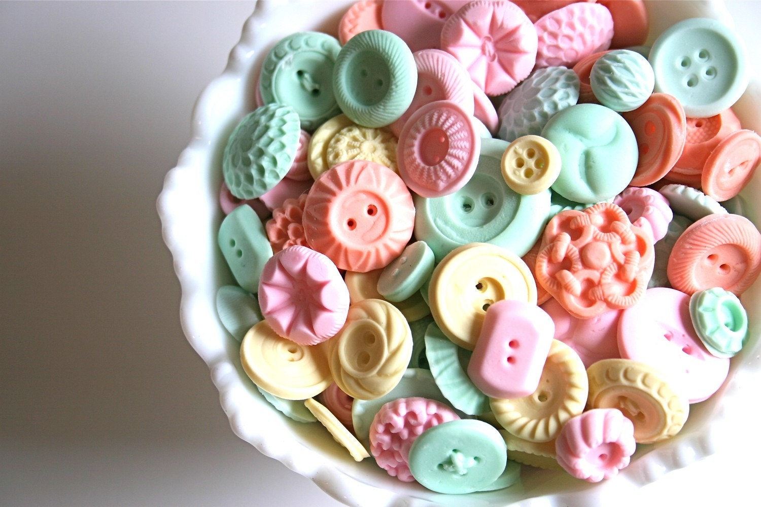 Candy Buttons 50 Pastel Peppermint -by Andie's Specialty Sweets - andiespecialtysweets