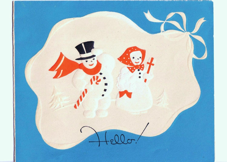 1940s Snowman Christmas Card