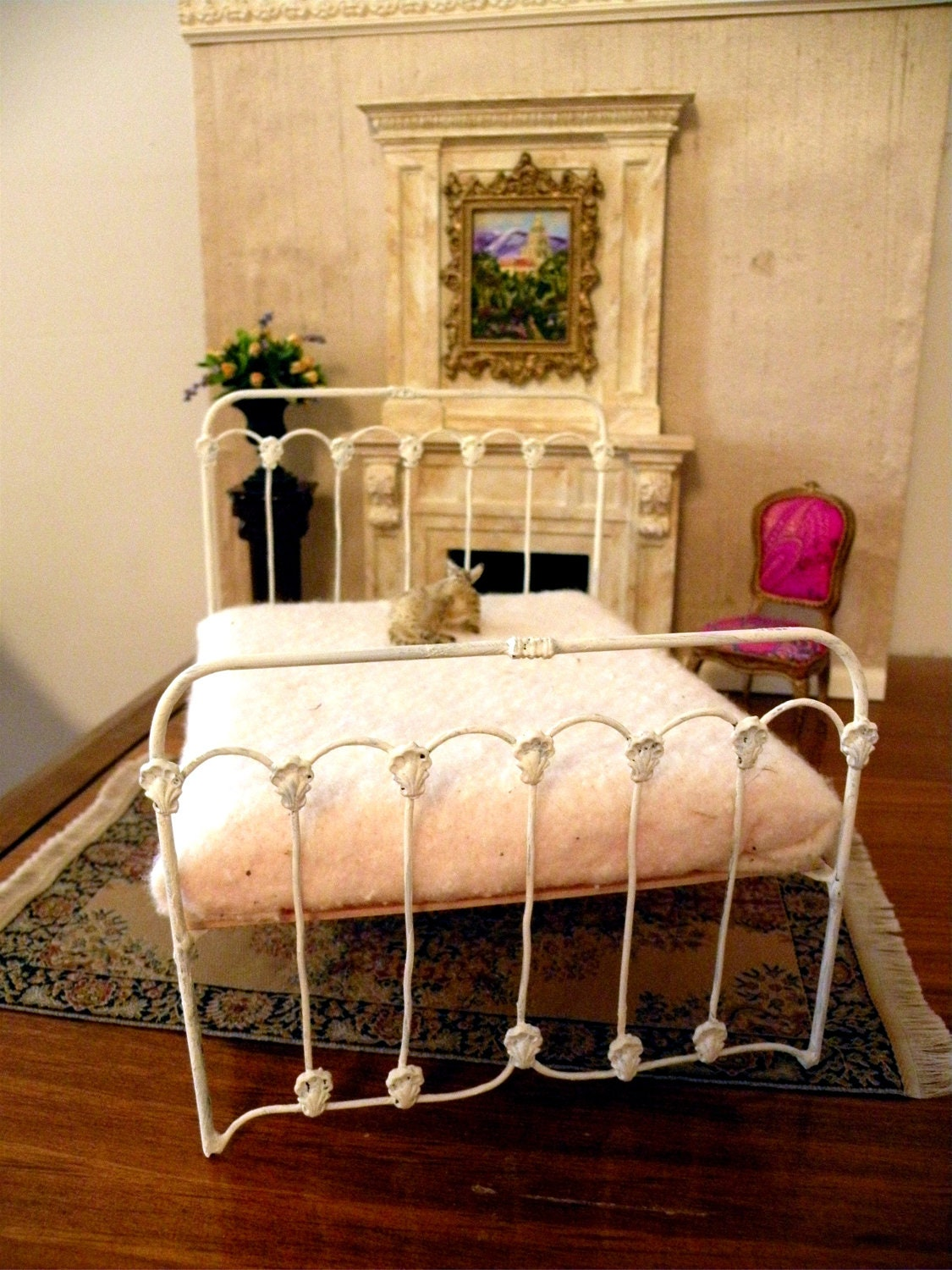 "Dollhouse Miniature 1:12 Scale Artisan Un-dressed Wrought Iron Bed ""Summerwind"" - ALifeInMiniature"