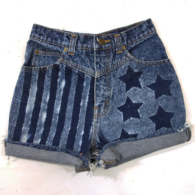 Stars & Stripes Cut Off Denim Shorts / Bleach Wash / Lee Jeans