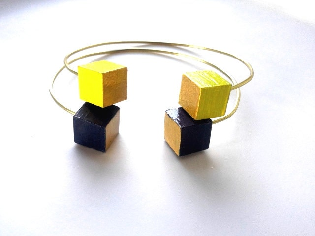 Yellow/Black Gold Wood Bead Adjustable Bracelet Set
