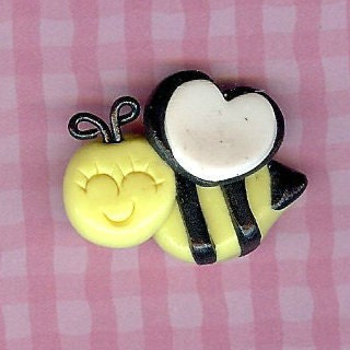 Bee Chic Inspired Polymer Clay Beads and Bow Centers, Jewelry, Charm, Pendant, Hair Bow Center - TheCornerClayShoppe
