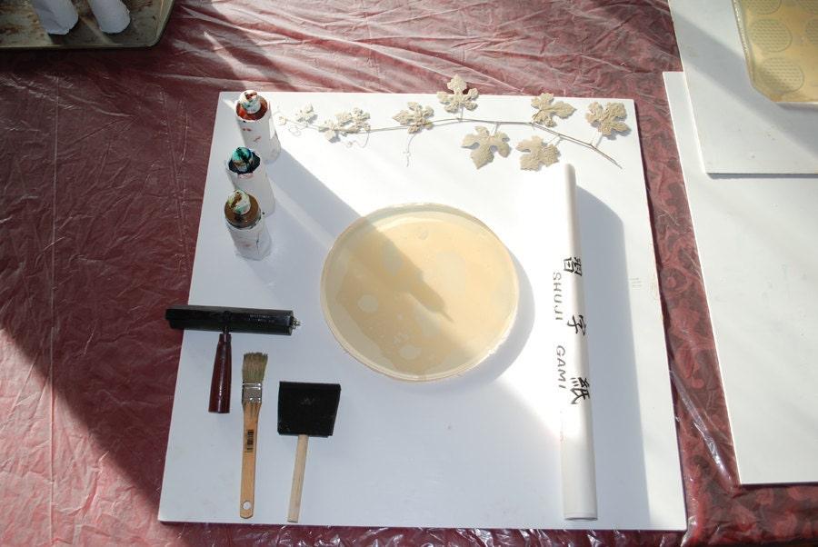 Fossil, ooak gelatin monoprint