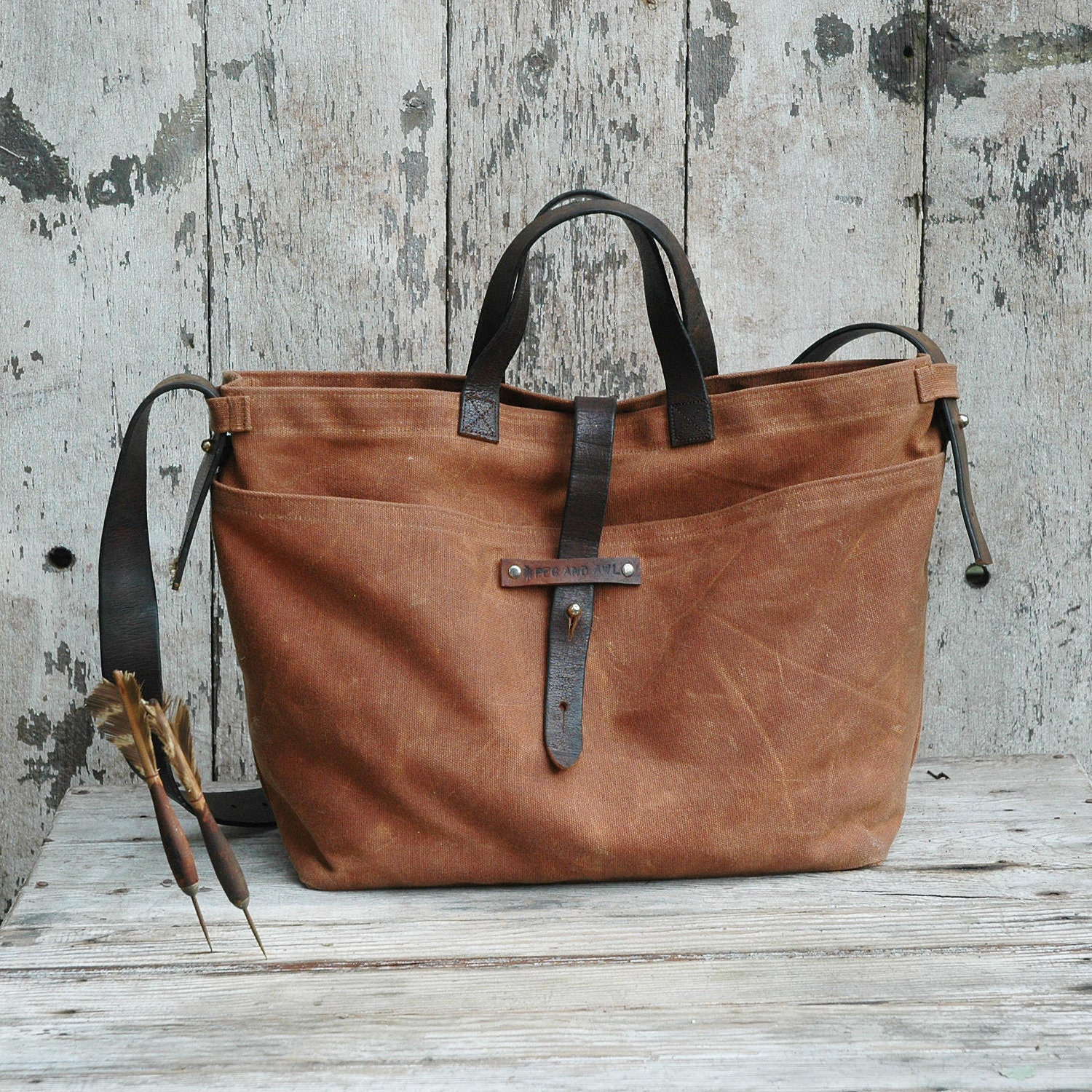 Waxed Canvas Tote: Spice, antique military leather, homespun fabric. - PegandAwl