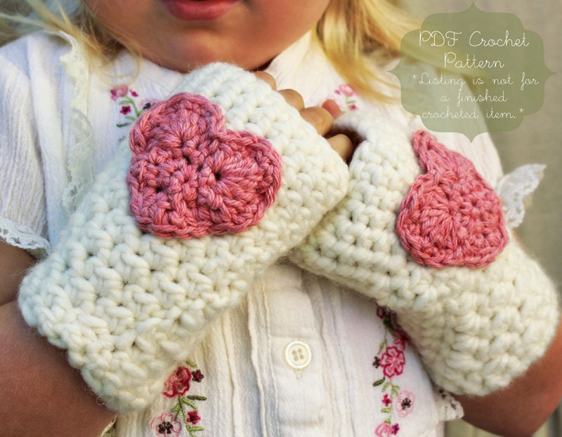 PATTERN: The Kendall Mitts -Toddler, Child, & Adult Sizes- heart, Valentine's Day, chunky, easy, fingerless