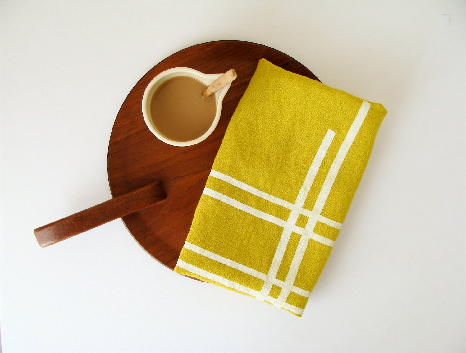 Citron Chartreuse Linen Hand Printed Eco Friendly Tea Towel - MilkhausDesign