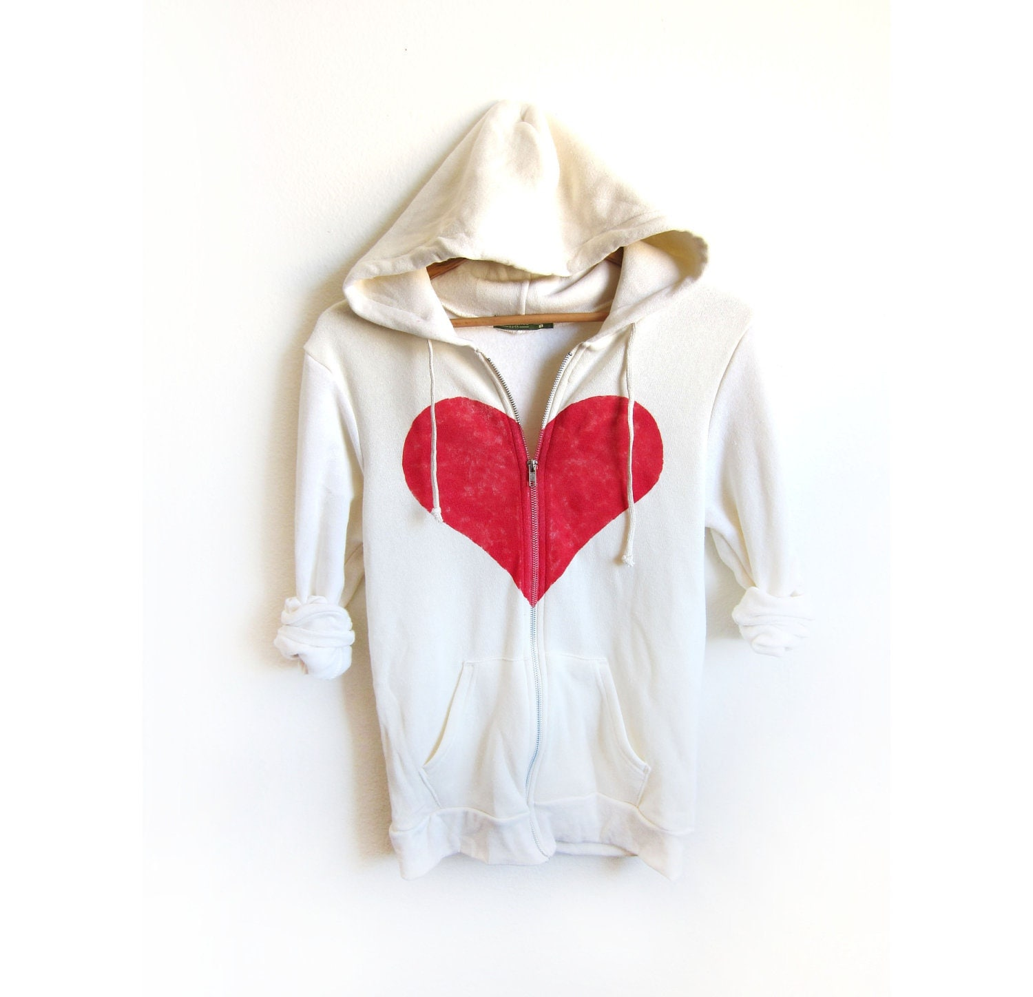 Un-break my Heart Hand STENCILED Zip Hoodie Heather Artist Series Sweatshirt in Cream - S M L XL 2XL 3XL - twostringjane