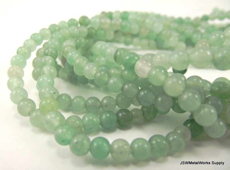 Green Aventurine Round Beads, 4mm, 16 Inch Strand, Whole Strand - JSWMetalWorksSupply