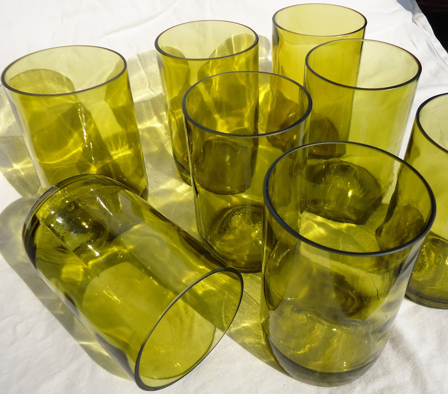 Upcycled Wine Bottle Glasses made from Recycled Yellow Wine Bottles 12oz  Set of 8