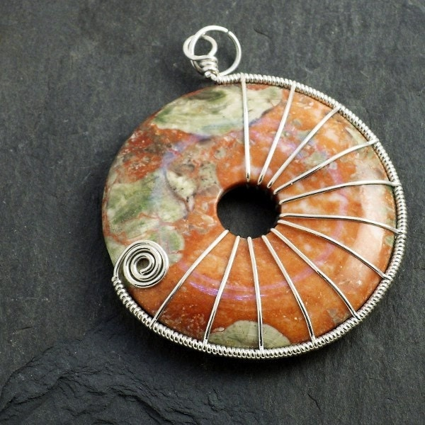 Sterling Silver wrapped Agate Donut - TangledWireCreations