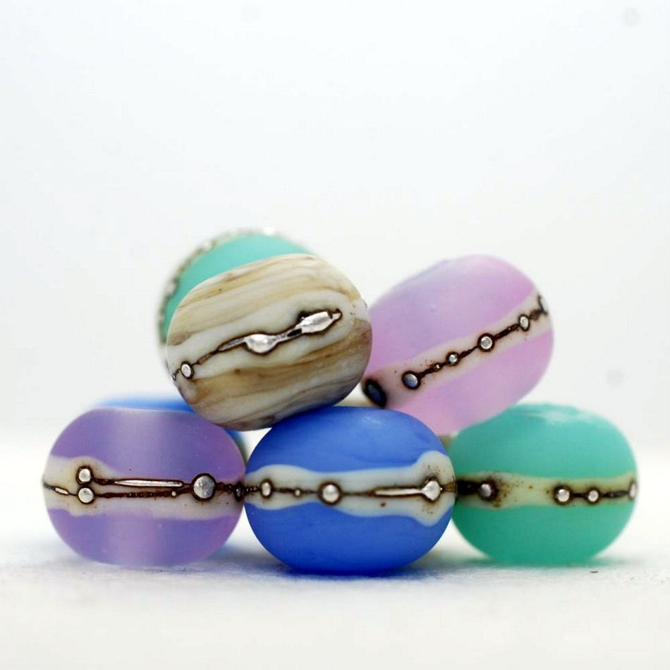 Lampwork bead set (8),  glass beads, etched,  sea glass, pink, lavender blue, sea green, silvered ivory. SRA - Juliyamrboro