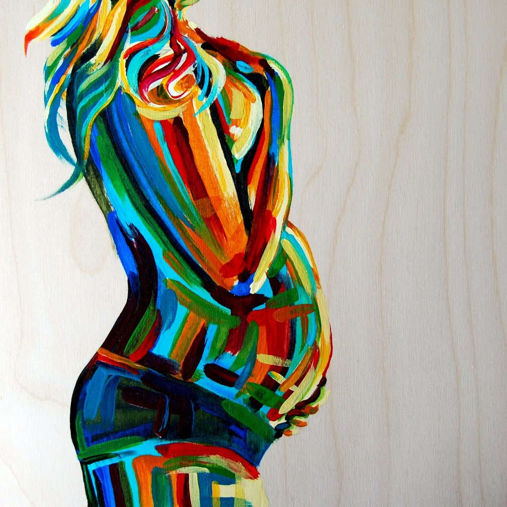 "Pregnancy Painting Maternity Figure 10x10  Birth Midwife Doula Fertility Goddess bright colors wood turquoise red yellow ""Vibrant Stillness"""