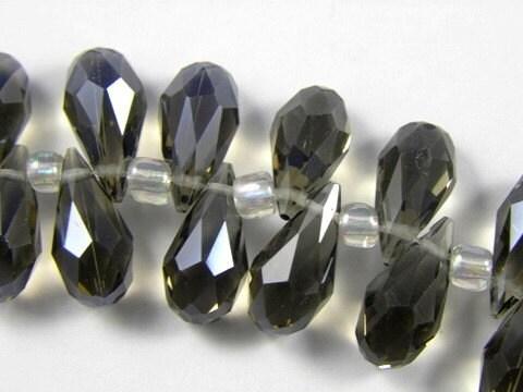 Black Diamond Crystal Quartz Faceted Briolette Teardrops, 7X14MM - 4 pcs
