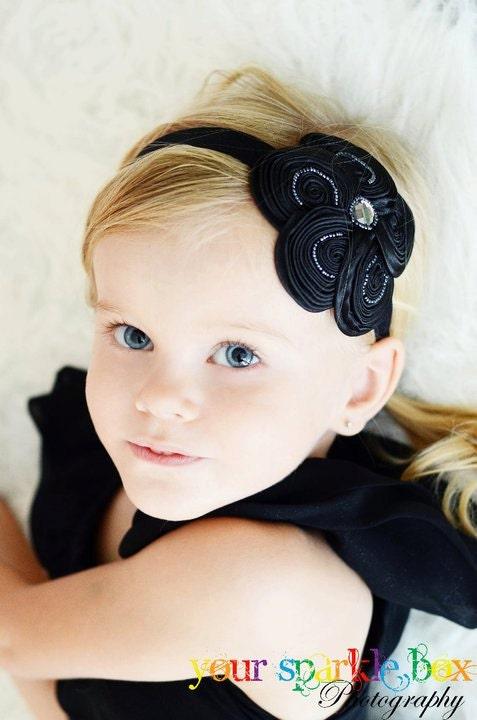 Шикарный черный вышитый бисером Шелковистые Swirl Цветок Puff Stretchy головная повязка или зажим для волос - Бесплатный судна Промо