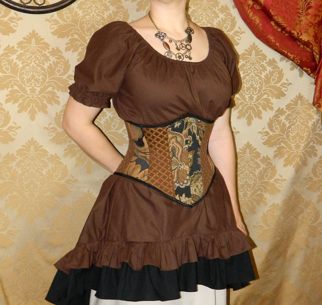 "Patchwork Victorian Steampunk Waspie Corset - Deluxe with Modesty Panel - Black, Brown, & Copper - Fits Waist 25""-27"" - VeneficaCorsetry"