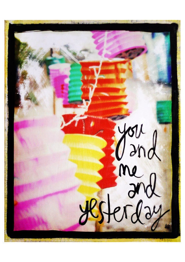 You and me and Yesterday - vibrant mixed media art print - colorful paper lanterns